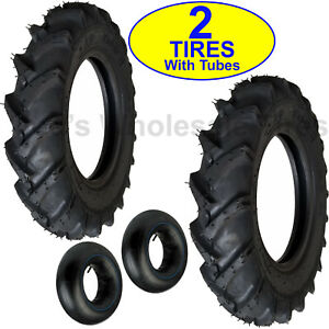 Two New 6 00 16 Deep Lug R 1 Tires With Tubes Compact 4wd Farm Tractors 600 16
