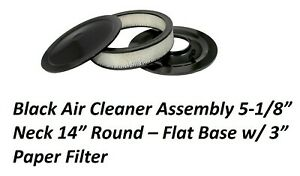 Air Cleaner Black Complete Flat Base 14x3 Ford 289 302 351w Mopar 340 383 440