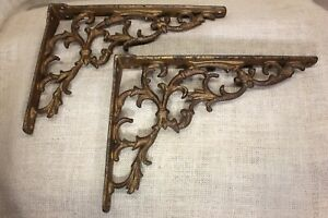 2 Old Shelf Brackets Countertop Mantel Supports 10 1 2 X 8 Brass Color Vintage