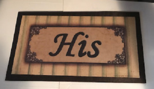 His Primitive Country Bath Bathroom Outhouse Powder Room Wood Decor Sign 7x13