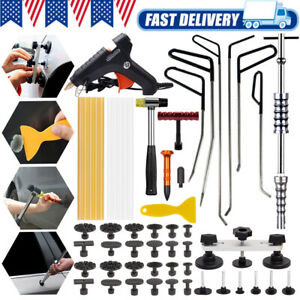 Car Dent Slide Hammer Tool Paintless Repair Glue Gun Removal Hail Push Rods Kit