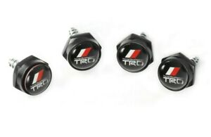 4pcs Trd Racing Car License Plate Frame Black Screw Bolt Cap Cover Screw Bolts