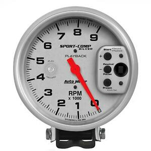 Autometer Sport Comp Playback Tachometer 0 9 000 5 Dia Silver Face 3964