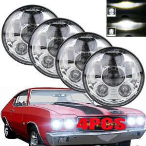 4pcs Dot 5 75 5 3 4 Round Led Hi lo Sealed Beam Drl Headlights White Chevy Gmc