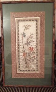 Antique Silk Embroidery Panel Blue Birds On Flowers