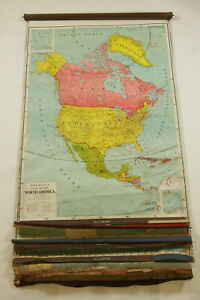 8 Vintage Rand Mcnally Commonwealth Series Pull Down World Maps On Roller