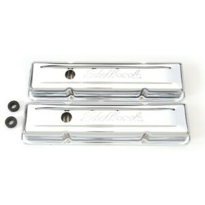 Edelbrock 4449 Signature Valve Covers 59 86 Sbc Chevy 262 400 Std Height Chrome