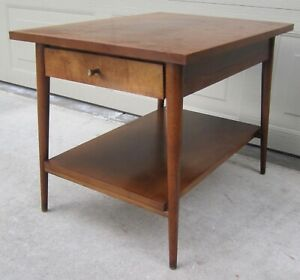 Vintage Paul Mccobb Planner Group Birch Coffee Side End Table Nightstand Brass