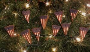 10 Primitive Mini Wood Americana Flag Pennant Ornies Ornaments Great Filler