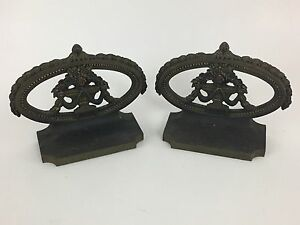 Excellent Vintage Bradley Hubbard Bookends Floral Urns Circa 1920s Painted