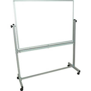 Luxor Double Sided Dry Erase Magnetic Whiteboard 48 X 36 With Rolling Stand