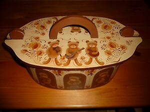 Vintage Hand Painted Oval Lidded Wood Box Teddy Bears Playing Musical Instrument