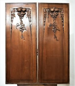 Pair Art Deco Grapes Vine Panel Antique French Carving Architectural Salvage