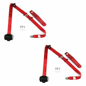 Red Retractable Front Shoulder Seat Belt Jeep Cj Yj Wrangler 82 95 3 Point Pair