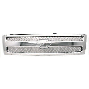 Chrome Grill Assembly For 2007 2013 Chevrolet Silverado 1500 Grille Gm1200655