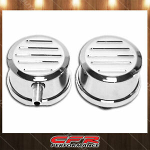 Fits Chevy Ford Mopar Polished Billet Aluminum Breather Set W Pcv Ball Milled