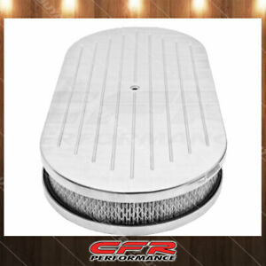 Chevy Ford Mopar 19 Oval Polished Al Air Cleaner Ball Milled With Paper Filter