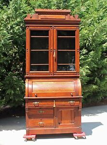 Regal Victorian Walnut Burl Cylinder Roll Secretary Desk W Gallery Key C1875