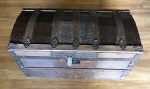 Antique Camel Back Trunk With Beautiful Metal Inlay