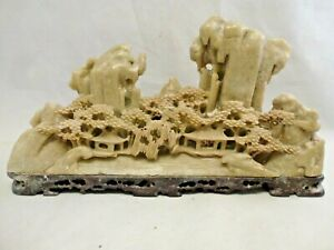 The Peoples Republic Of China Carved Soapstone Landscape Figurine