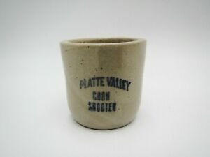 Antique Stoneware Platte Valley Corn Shooter Shot Glass Red Wing