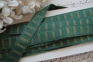 1y Vtg French Green Gold Metallic Thread Jacquard Ribbon Work Rosette Trim Doll