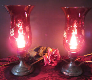 Sterling Weighted Silver Antique Cranberry Glass Shades Pair Of Lamps Electric
