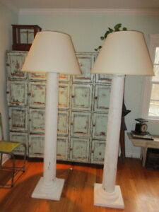 Antique Wood Column Floor Lamp 71 With Shade