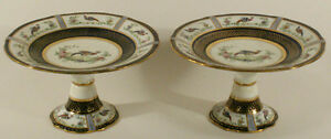 Pair Antique English Cobalt Ground Porcelain Footed Compotes W Birds 19th C