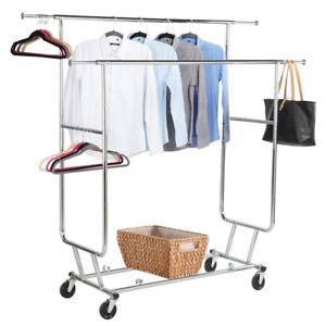 Yaheetech Commercial Grade Garment Rack Rolling Collapsible Rack Hanger Holder 2