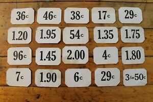 Set Of 20 Vintage Antique Store Price Number Tags Double Sided Mercantile