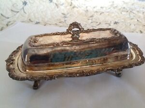 Vintage Silver Plate Butter Dish With Scroll Design W Glass Liner