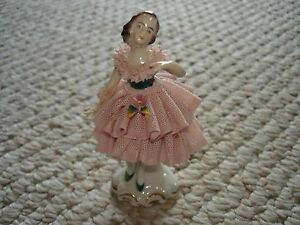 Dresden Germany Small Ballerina Figurine Pink Ruffle Lace Dress Brown Hair Blue