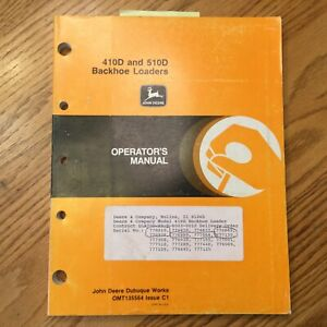 John Deere 410d 510d Operator Manual Tractor Backhoe Loader Maint Operation Book