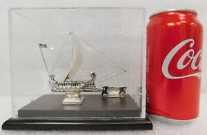 Vtg 950 Sterling Silver Hand Made Roman Ship Model Galley Bireme Trireme Warship
