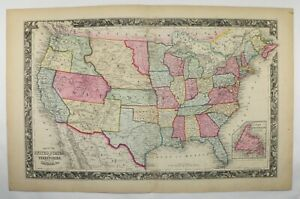 Original 1860 United States Map Mitchell Map Of United States Antique Us Map