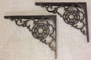 2 Shelf Supports Brackets 7 X 5 5 Old Rustic Vintage 1880 S Spider Web Chip
