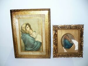 Vintage Italian Florentine Gold Gilt Wood Religious Icon Plaque Madonna 2 Lot