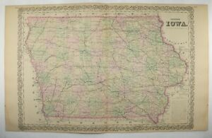 1881 Large Map Of Iowa Antique 1881 Colton Iowa Map County State Map 17 X 27