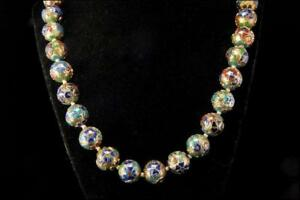 Antique Chinese Enamel Silver Flower Beads Necklace D95 04