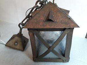 Large Antique Arts Crafts Mission Pendant Ceiling Light Fixture 10 X 10 Vtg