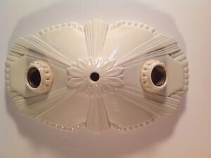 Antique 1920s 30s Vintage Art Deco Porcelain Ceiling Light Fixture Ceramic Nyc