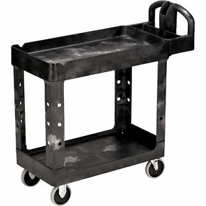 Rubbermaid Heavy duty 2 shelf Utility Cart 40inlx17 75inwx8 75inh 500 lb Cap