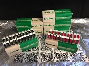 New Vgt Lot 70 Dymo Glossy Red Black Labeling Embossing Tape 1 4 10 Per Box