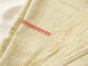 58x92 Vtg Antique French Heavy Hemp Linen Fabric Sheet Blanket Quilt Coverlet