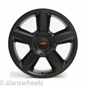 4 New Chevy Suburban Tahoe Ltz Matte Black 20 Wheels Rims Red Bowtie 5308