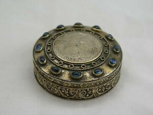 Rare Vermeil Silver Jewel Box With Sapphires And Coins From The 1600s