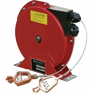 Reelcraft Retractable Grounding Reel 50ft l 100 Amps Dual Cable Model G 3050 Y