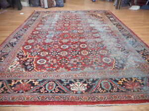 C1880 Antique Sultanabad Vintage Serapi Mallayer Sarouk 10x14 Estate Sale Rug