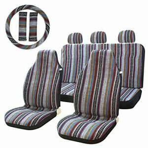 10pc Stripe Multi color Seat Cover Baja Saddle Blanket Weave Bucket Seat Cover